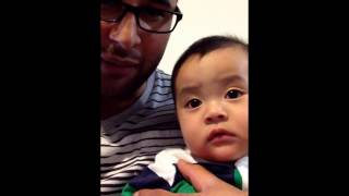 baby cries when dad pretends to cry