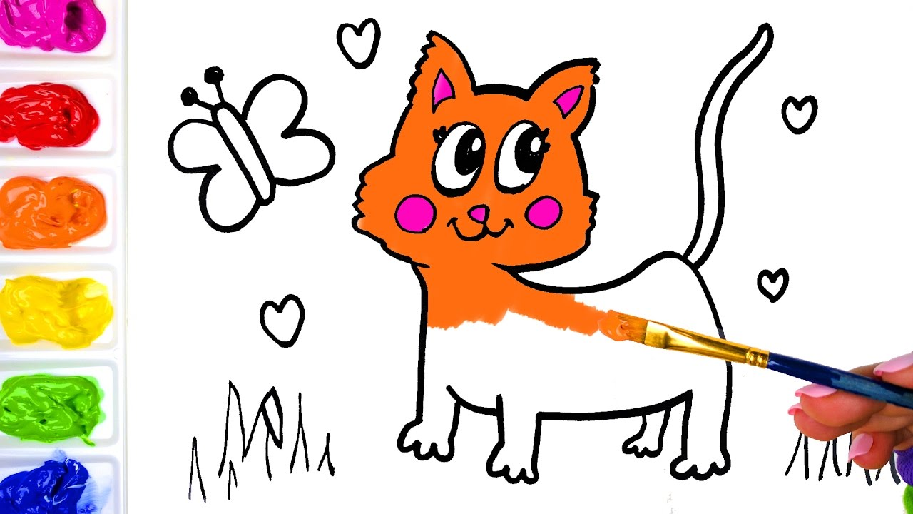 drawing a butterfly and cat for children painting a cute cat and