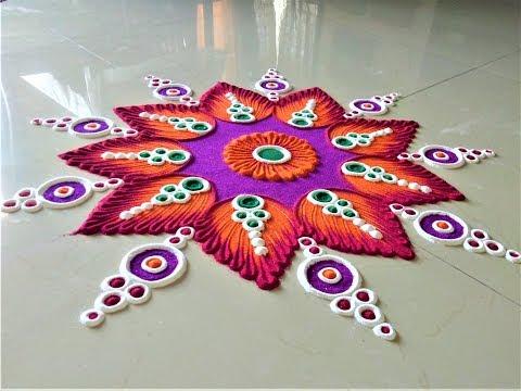Easy and Beautiful Rangoli Design Creative Rangoli by Shital Mahajan.