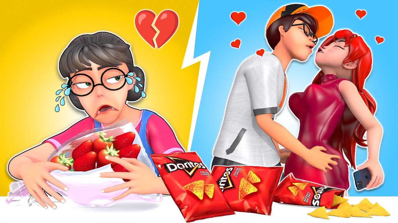 RED FOOD MUKBANG (Doritos) II My Crush Is In Love With My Best Friend II Scary Teacher 3D Mukbang