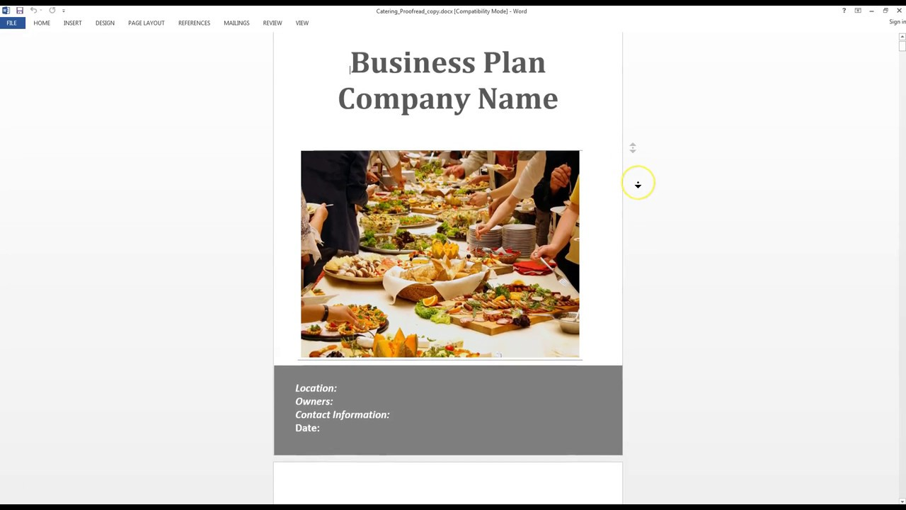 Catering Business Plan Template Overview YouTube - Catering business plan template