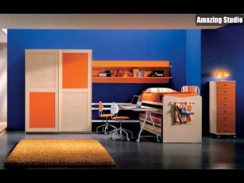 Tapeten Farben Ideen Blaue Wand Und Orange Möbel