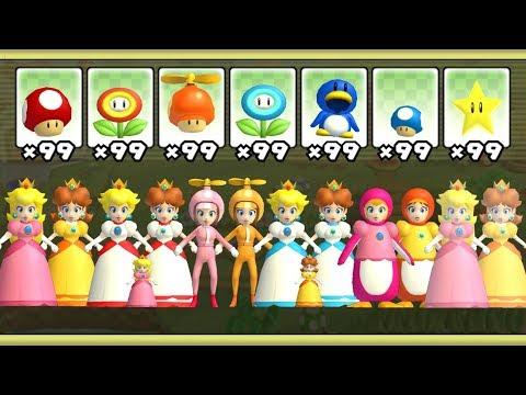 New Super Mario Bros Wii - All Peach & Daisy Power-Ups
