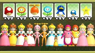 New Super Mario Bros Wii - All Peach & Daisy Power-Ups