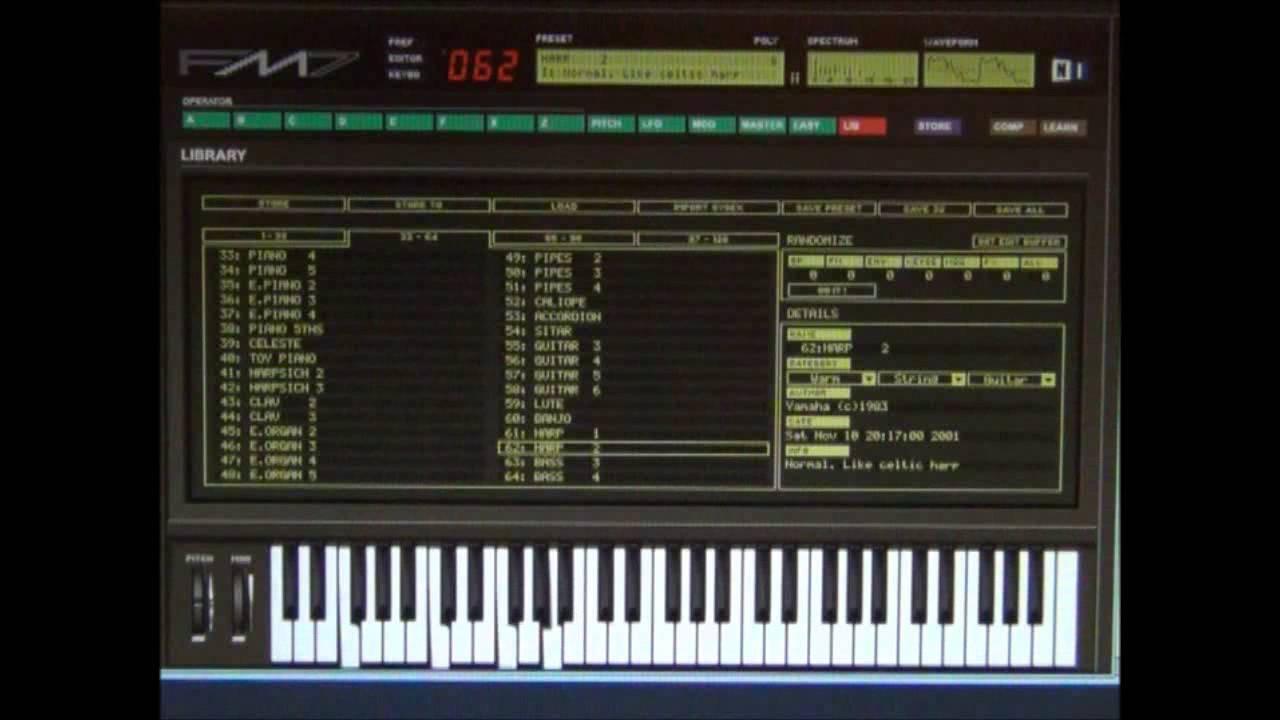 Yamaha DX7 Emulator Software - FM7 - Patch - 062 Harp 2 - YouTube