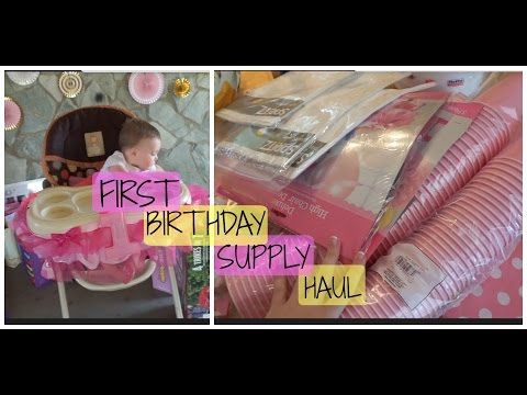 PINK, GOLD AND WHITE FIRST BIRTHDAY SUPPLY HAUL!!