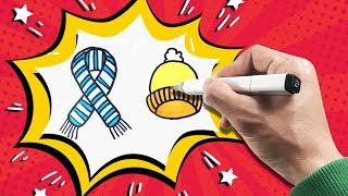 How To Draw and Coloring Scraf Beanie - Learn Name Scraf Beanie - Drawing for Children