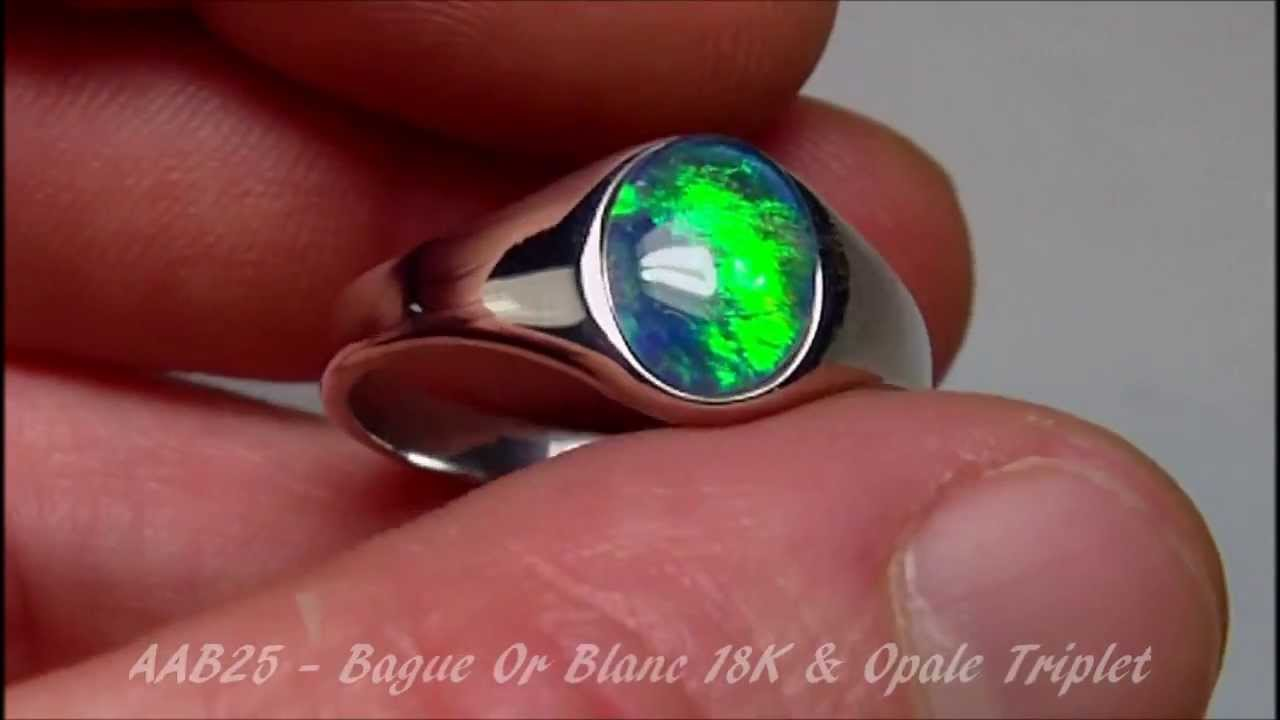 AAB25 , BIJOU OPAL ORION , BAGUE CHEVALIERE HOMME OR BLANC 18 CARATS PIERRE  OPALE TRIPLET , YouTube