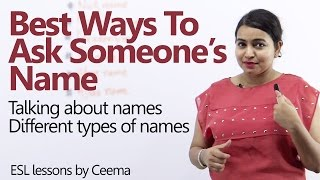 Best ways to ask someone's name - Learn English expressions with 'NAME' - English Lesson thumbnail