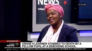 Grade 9 learner stabbed to death by a fellow pupil at a Sebokeng school