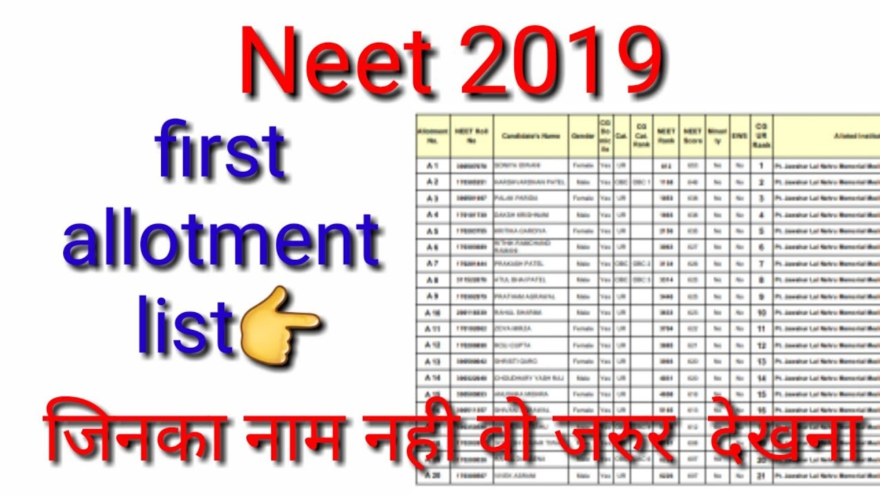 Neet 2019 MBBS and BDS first allotment list declared today|| Neet 2019 cg  college allotment list ||