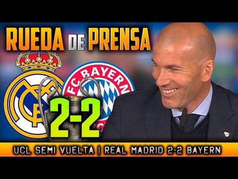 Real Madrid 2-2 Bayern Munich RUEDA DE PRENSA de ZIDANE Post SEMIFINAL Champions (01/04/2018)