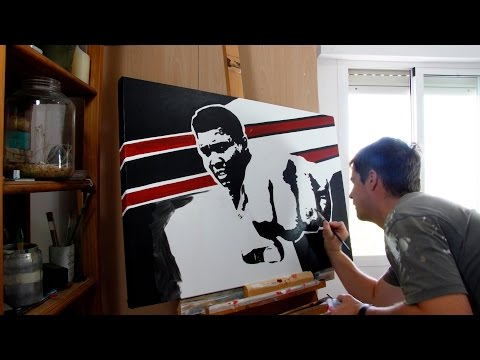 Muhammad Ali Time lapse Speed Painting, Acrylic on Canvas