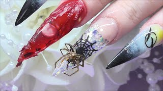 HALLOWEEN CONGEALED BLOOD AQUARIUM NAILS with real spider uñas de Halloween | ABSOLUTE NAILS