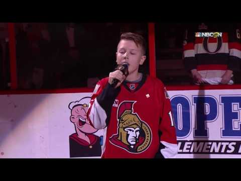 Brenden MacGowan sings National Anthems at Canadian Tire Centre