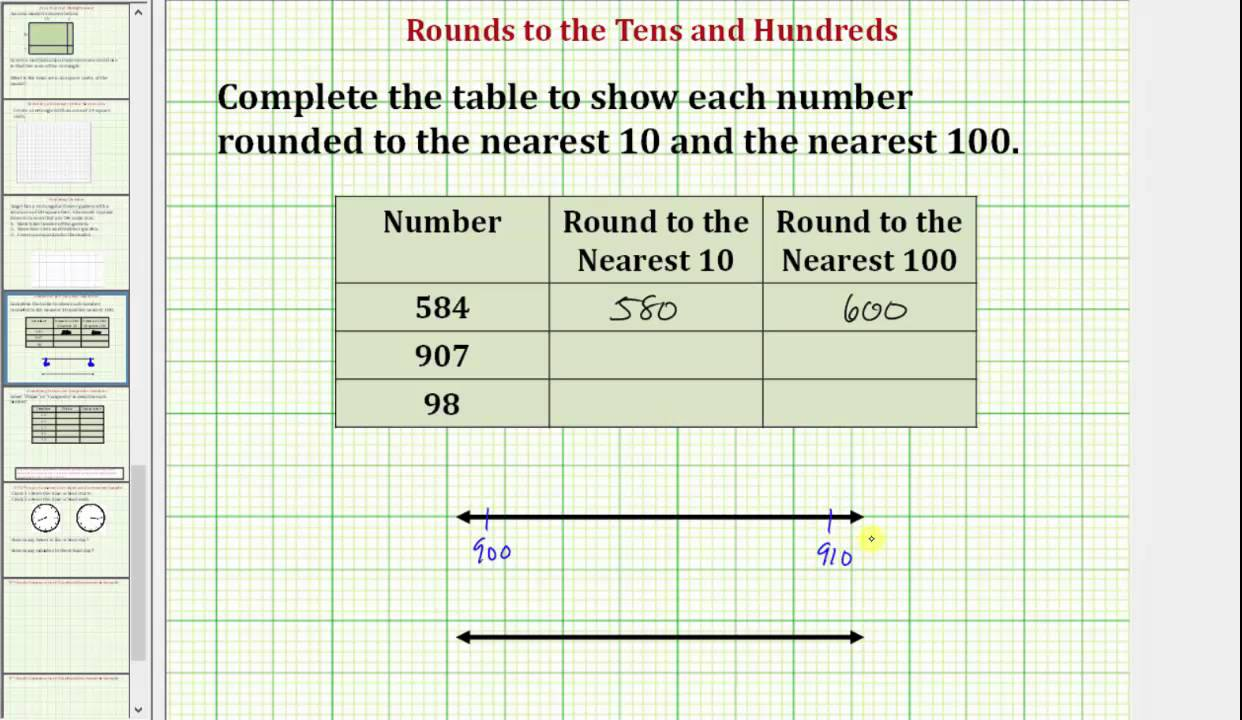 Rounding Numbers to the Tens and Hundreds mon Core 3 4 Math Ex