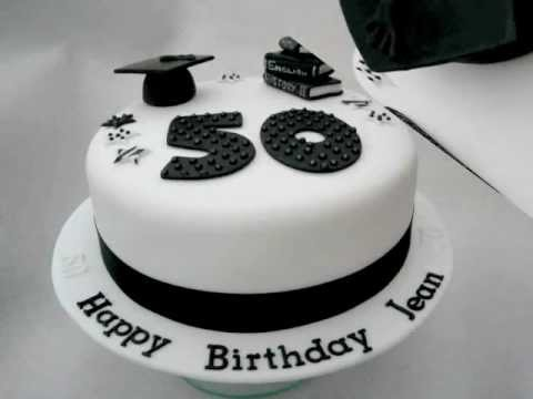 Teacher Black White 50th Birthday Cake