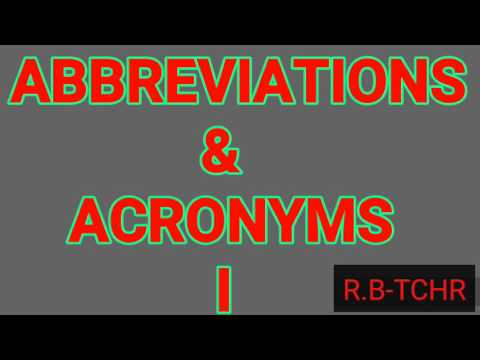 ENGLISH- ABBREVIATIONS AND ACRONYMS | Best Abbreviations For Exams | Latest Abbreviation 2017 New.