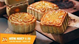 2 cách làm bánh Trung thu nướng nhân hạt sen - nhân sữa dừa   Học làm bánh Trung Thu
