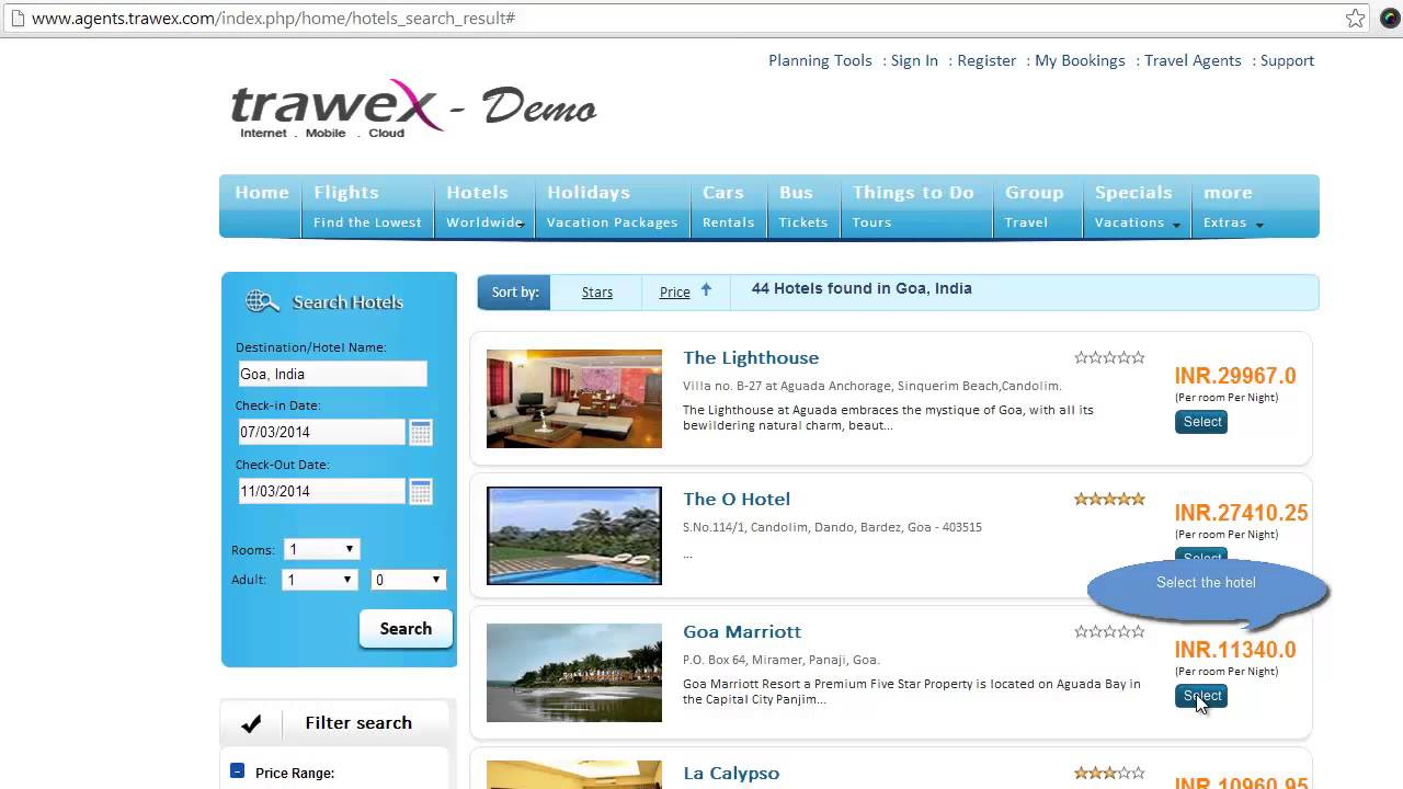 Domestic hotel reservation system demo hotel reservation systems hotel reservation software