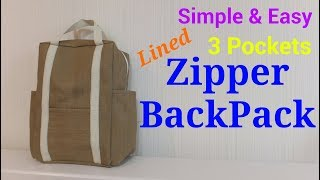 【DIY】3ポケット*2way*バックパック*3 Pockets Lined 2way*Zipper BackPack*