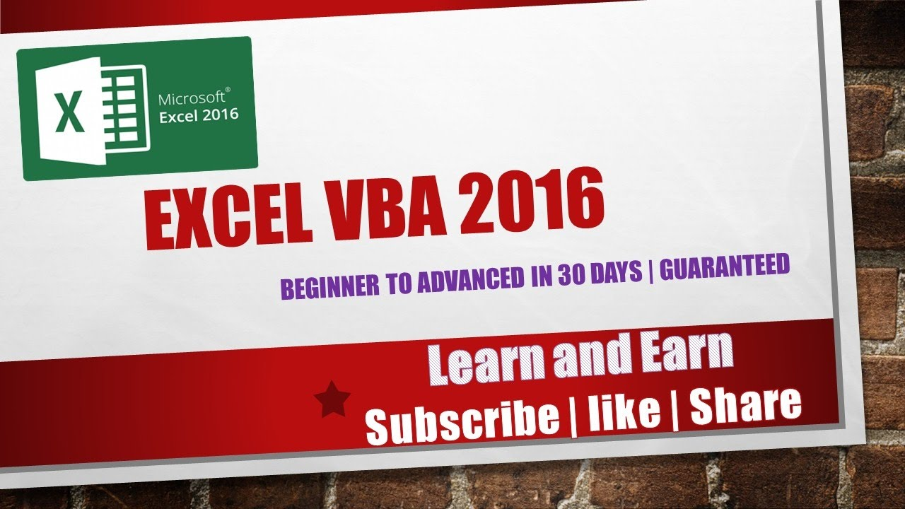 Excel VBA 2016 complete tutorial for beginners | Part 1 ...