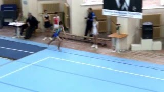Ганжела Родион выполняет 2 опорный прыжок. Владимир. Ноябрь 2015.