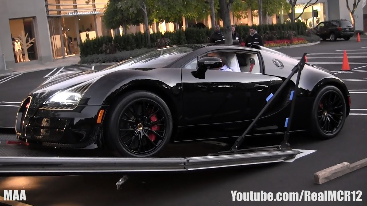 unloading a bugatti veyron grand sport vitesse black bess youtube. Black Bedroom Furniture Sets. Home Design Ideas