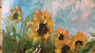 Подсолнухи - техники мастихином - анонс видео-урока масляной живописи - Анна Миклашевич