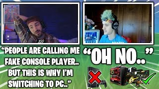 Nickmercs Tells Ninja Why He Switched To PC Then Gets Called Fake Console Player (Fortnite Moments)