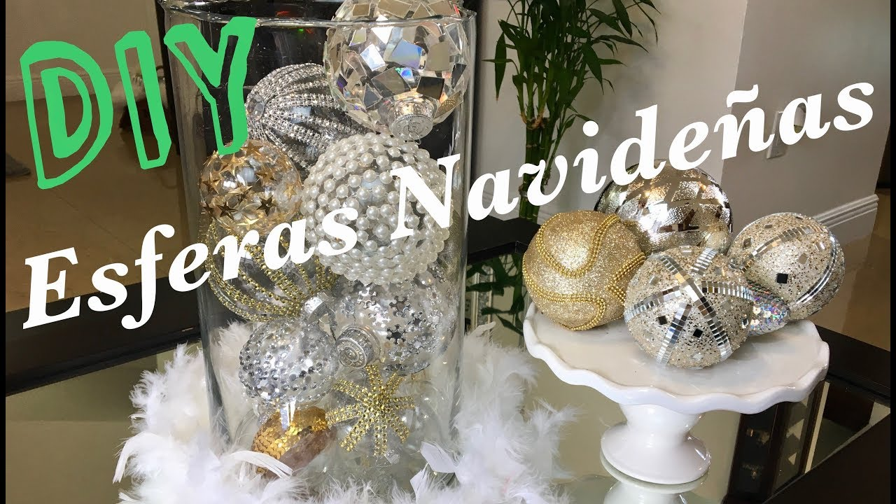 Como decorar esferas navide as diy elegante youtube for Cosas navidenas para hacer en casa