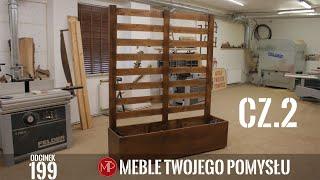 cz 2 Jak zrobić donicę ogrodową z pergolą z drewna modrzewia, montaż materiału na pergolę, malowanie