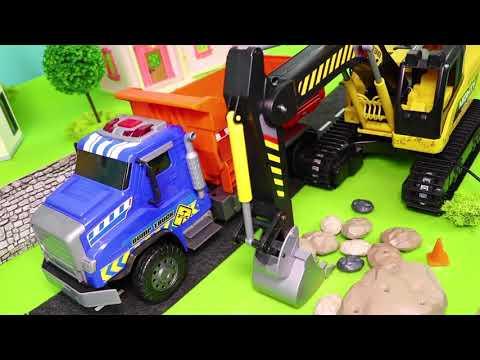 Pelleteuse, camion à ordures, Camion de pompier, voiture de police, trains jouets - Excavator Toys