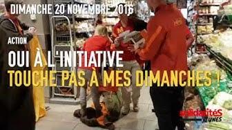 Touche pas à mes dimanches - Action Migros gare Cornavin (Genève) - solidaritéS Jeunes