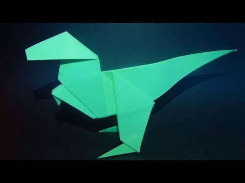 Как сделать динозавра из бумаги. Оригами Тираннозавр. Origami Tyrannosaurus