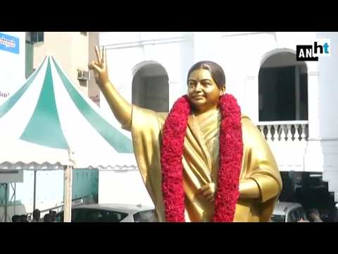 Watch: Jayalalithaa's statue replaced with a new one at AIADMK HQ after criticism