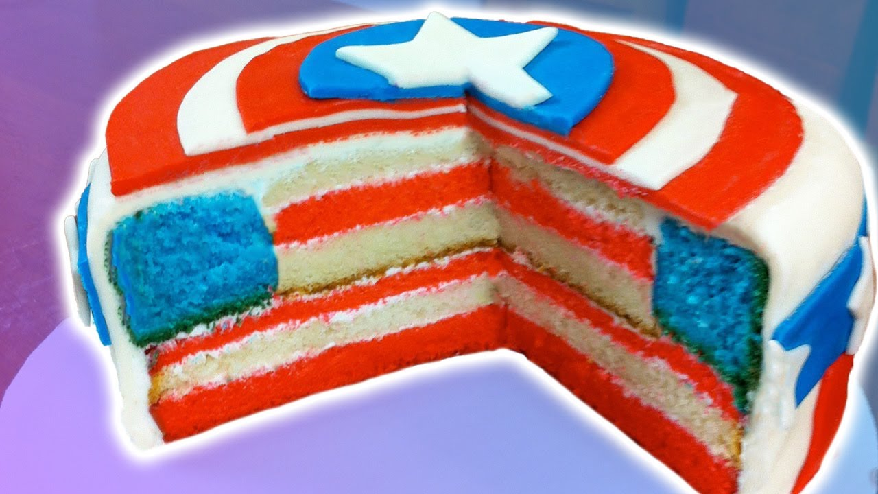 Captain America Kuchen How To Make A Captain America Cake Nerdy Nummies