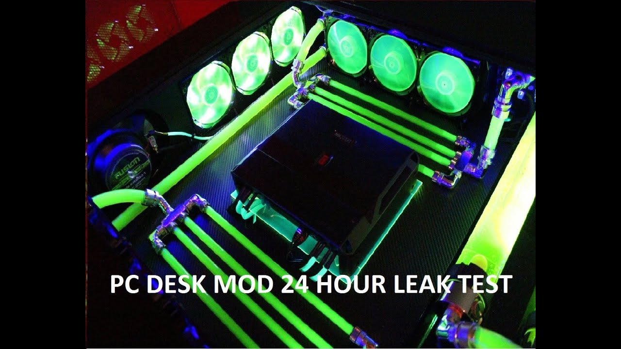 Custom Water Cooled Pc Desk Mod Computer Within A Leak Test You