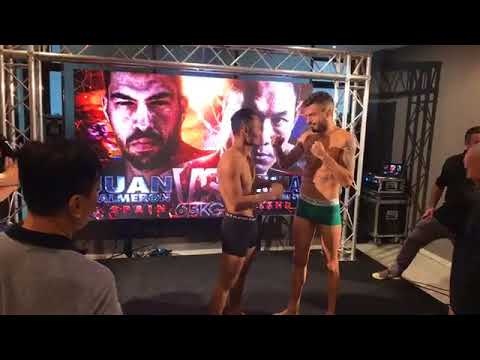 Vídeo Pesaje combate Muay Thai del albaceteño Juan Salmerón contra el astro tailandés Saenchai