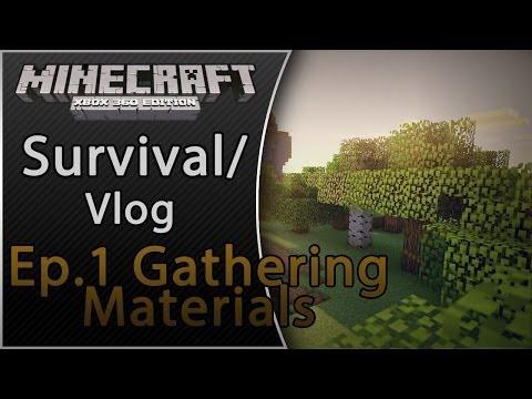 Video - Minecraft (Xbox 360) Survival Vlog Ep 1 Gathering Materials