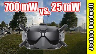 DJI FPV 25 mW vs. 700 mW vs. Analog