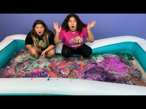 Mixing All Our Slimes Together - Super Satisfying Slime mixing