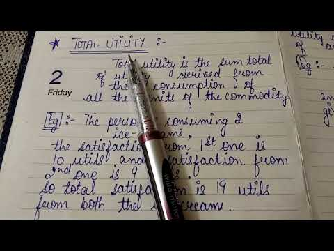Concepts Of Utility (Total Utility And Marginal Utility )