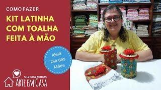 Kit Latinha e Toalha feitos à mão para o Dia das Mães