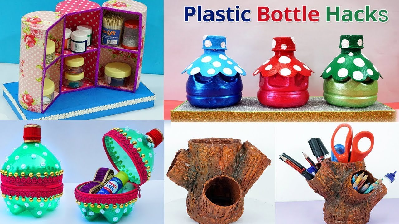5 Plastic Bottles Craft Ideas Diy Best Out Of Waste Plastic Bottle Craft Ideas Youtube