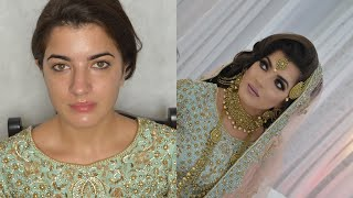 Walima asian bridal hair and makeup. Dark smokey eyes and nude lips Salma Akhtar MUA
