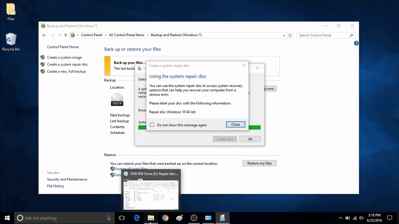 how to create a system restore disk for windows 10
