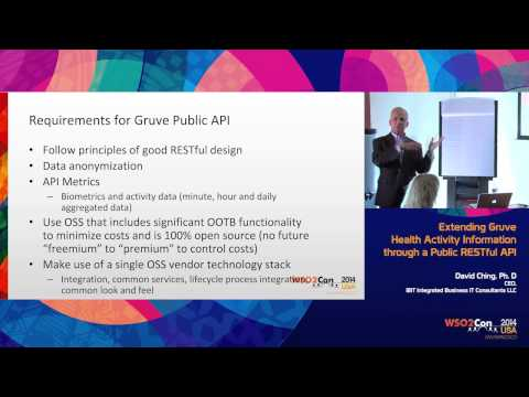 WSO2Con USA 2014 : Extending Gruve Health Activity Information through a Public RESTful API
