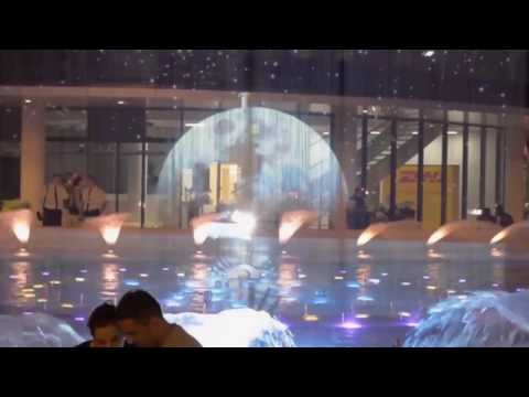 Crna Gora, Podgorica, The Capital plaza   cheoptic, water screen, 3D mapping