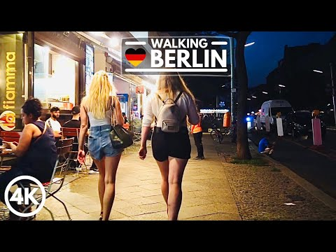 [4K] Berlin City Night Walk in Germany 2020 - Neukölln Summer Walking Tour
